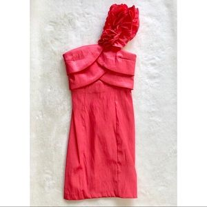 NEW Snap Floral Ruffle One Shoulder Coral Dress